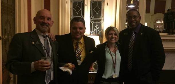 (L-R) Senator Merrifield, Adies Scott and Kim, Representative Melton at the Colorado Beer Caucus at the Governor's Mansion